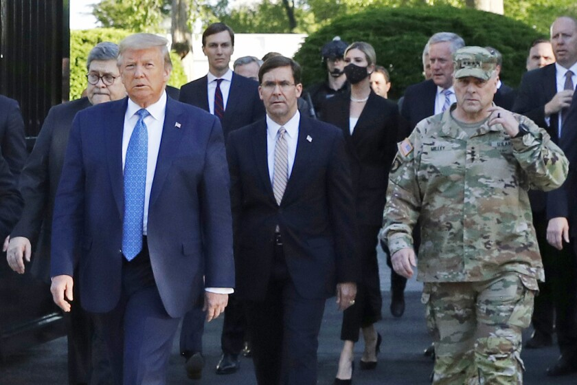 President Trump's recent appearance outside St. John's Church included Gen. Mark Milley in fatigues.