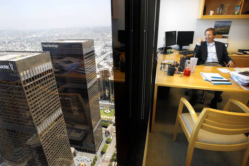 Greg Koltun, managing partner of law firm Morrison & Foerster in Los Angeles, looks out from his office in the Aon Center, the second-tallest building in downtown Los Angeles.