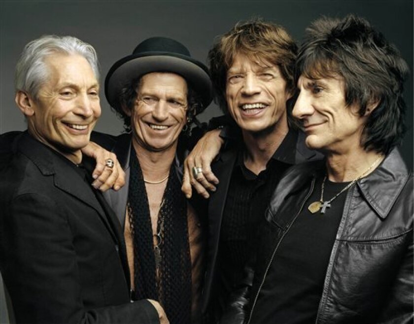 "FILE - This 2005 file photo, originally supplied by the Rolling Stones, shows the group, from left, Charlie Watts, Keith Richards, Mick Jagger, and Ron Wood posing during a photo shoot. The band said Wednesday, April 3, 2013, their ""50 and Counting"" tour will kick off in Los Angeles at the Staples Center. The date will be announced later. The tour will also visit San Jose, Calif.; Las Vegas; Anaheim, Calif.; Toronto; Chicago; and Boston. The tour wraps on June 18 in Philadelphia. The band will a"