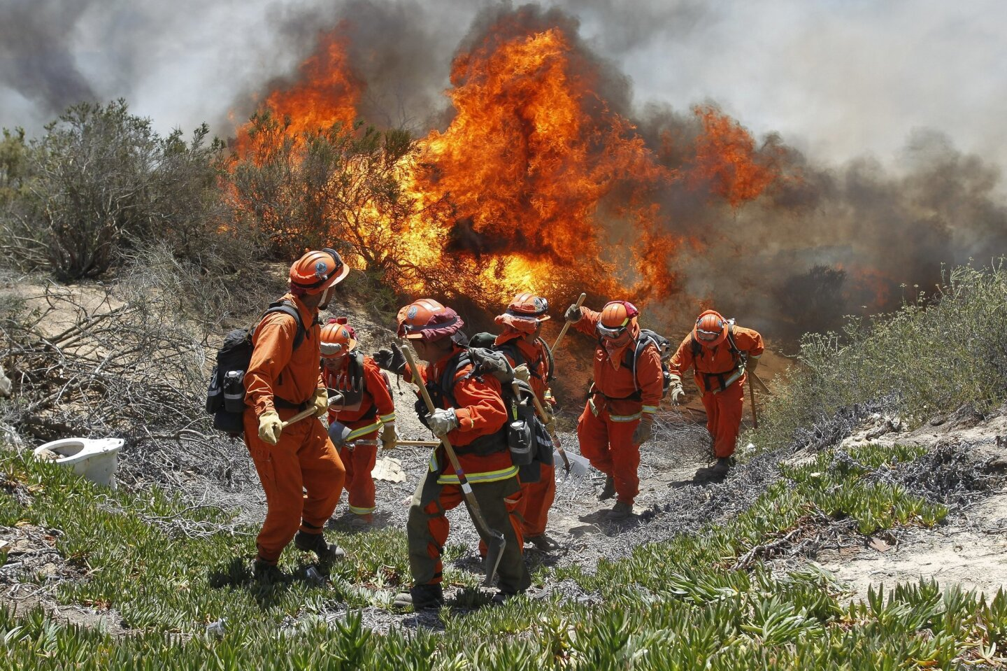 Inmates from Oak Glen Fire Camp in Riverside retreat to higher ground as the flames start move close to them while they work to control the fire near Oriole Court in Carlsbad on Wednesday.