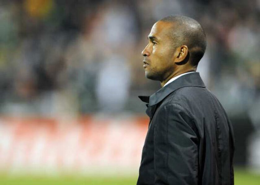 Coach Robin Fraser of Chivas USA looks on during the second half of the game against the Portland Timbers on April 7.