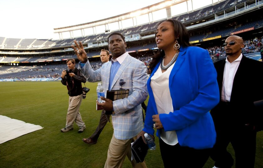 LaDainian Tomlinson and his wife LaTorsha arrived for the Celebration of Life for Junior Seau.