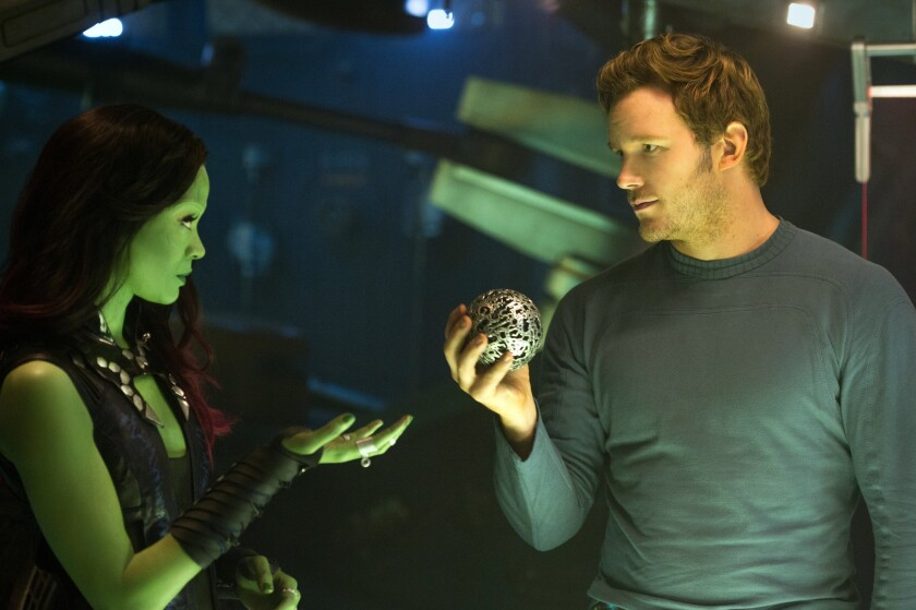 """Zoe Saldana as Gamora, left, and Chris Pratt as Peter Quill in a scene from """"Guardians of the Galaxy,"""" which moved into the No. 1 spot at the box office for 2014."""