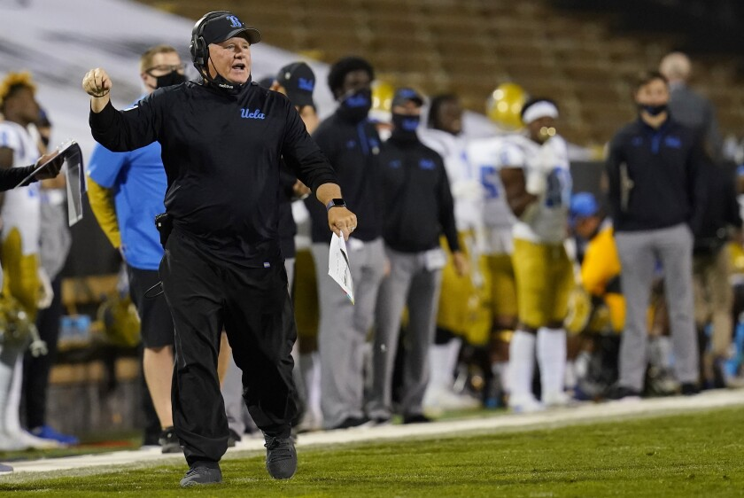 UCLA coach Chip Kelly argues for a call in the second half against Colorado on Nov. 7, 2020.