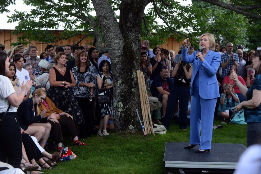 Hillary Clinton participates in a grassroots organizing event on July 16 in Windham, New Hampshire. The presidential candidate spoke about how to build an economy that will boost the middle class.