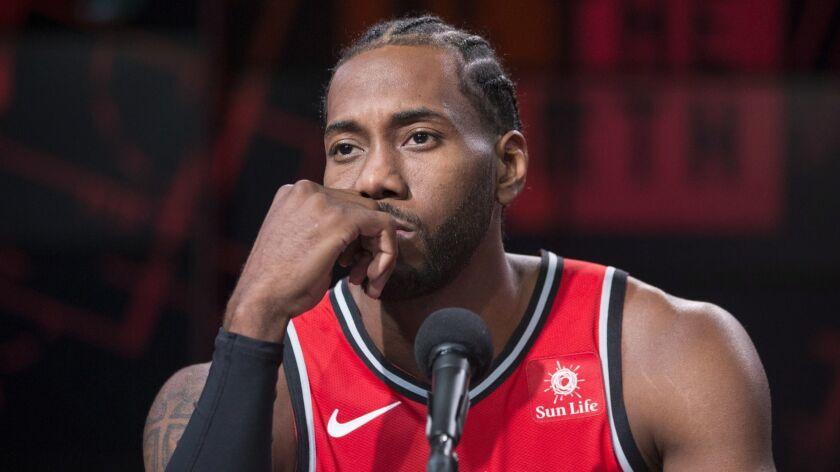 Toronto Raptors NBA basketball team player Kawhi Leonard is shown during a press conference at media