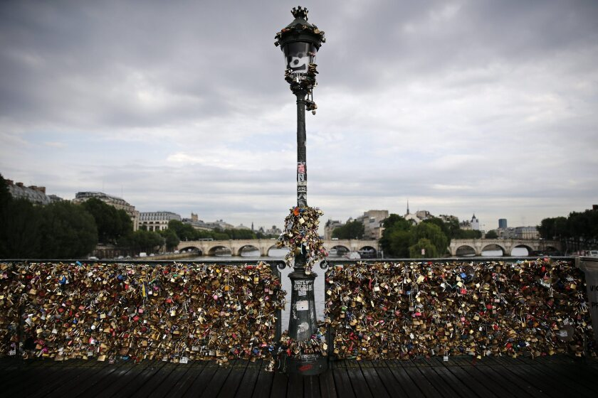 Thousands of love locks on the railings of the Pont des Arts in Paris.