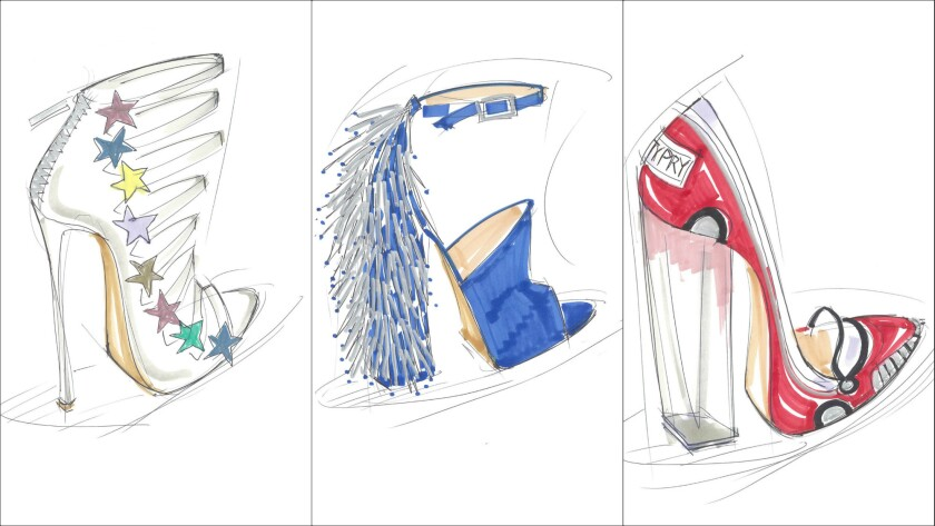 A look at sketches of shoes from Katy Perry's new footwear line, which will range from $59 to $299.