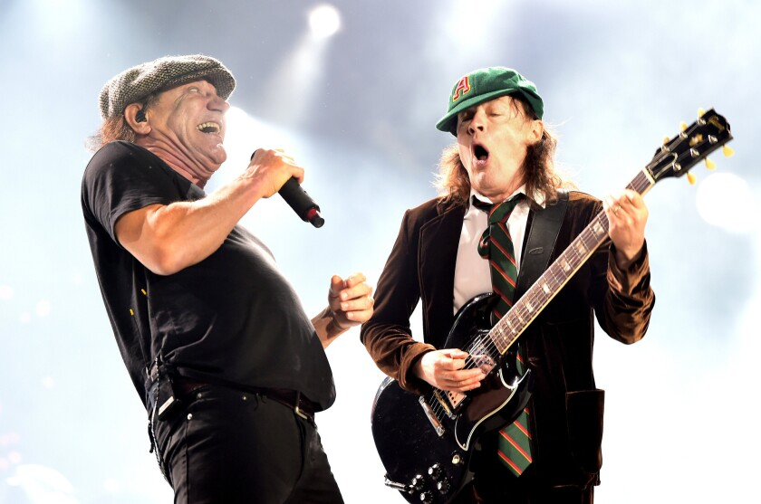 Brian Johnson, left, and Angus Young of AC/DC perform in 2016.