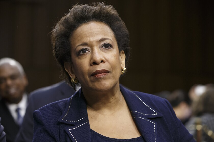 Attorney general nominee Loretta Lynch appears on Capitol Hill at a hearing in January. The Senate seems likely to further delay a vote on her nomination because of a separate dispute over abortion policy.