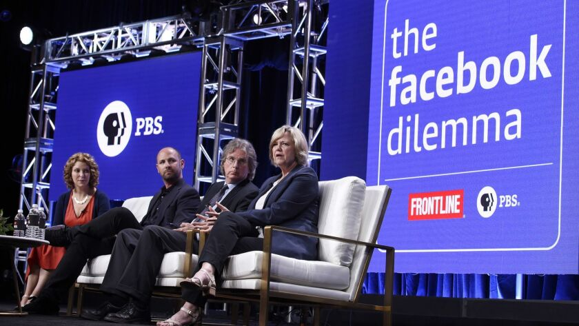 "Executive producer Raney Aronson-Rath, from left, producer James Jacoby, Roger McNamee and Washington Post journalist Dana Priest in the panel Tuesday for ""The Facebook Dilemma"" during the 2018 Television Critics Assn. Summer Press Tour."