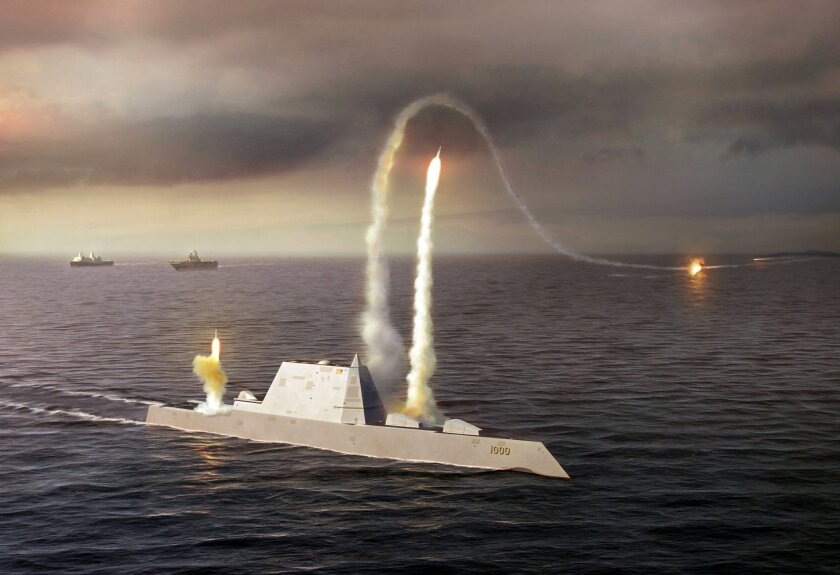 An artist rendering of the Zumwalt class destroyer DDG 1000, a new class of multi-mission U.S. Navy surface combatant ship designed to operate as part of a joint maritime fleet, assisting Marine strike forces ashore as well as performing littoral, air and sub-surface warfare. (DOD/Courtesy photo)