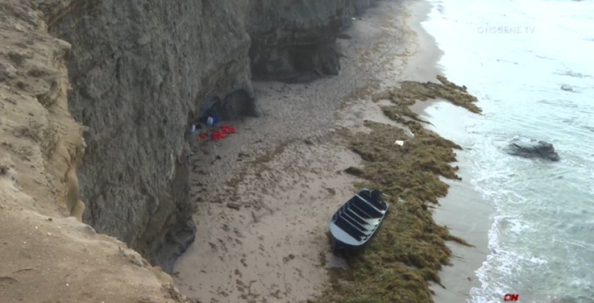 A 20-foot boat was found on the beach at Sunset Cliffs.