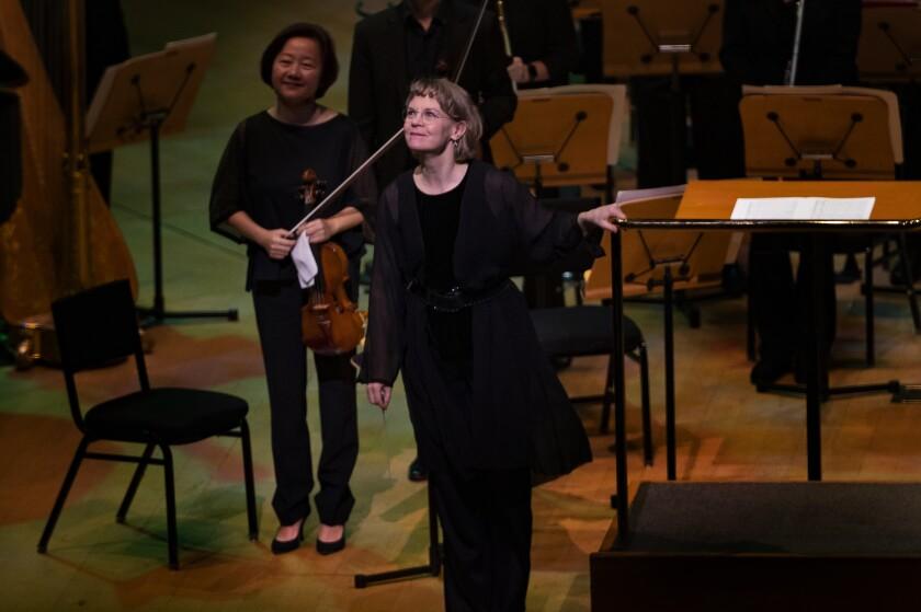 Conductor Susanna Mälkki onstage at the Walt Disney Concert Hall.