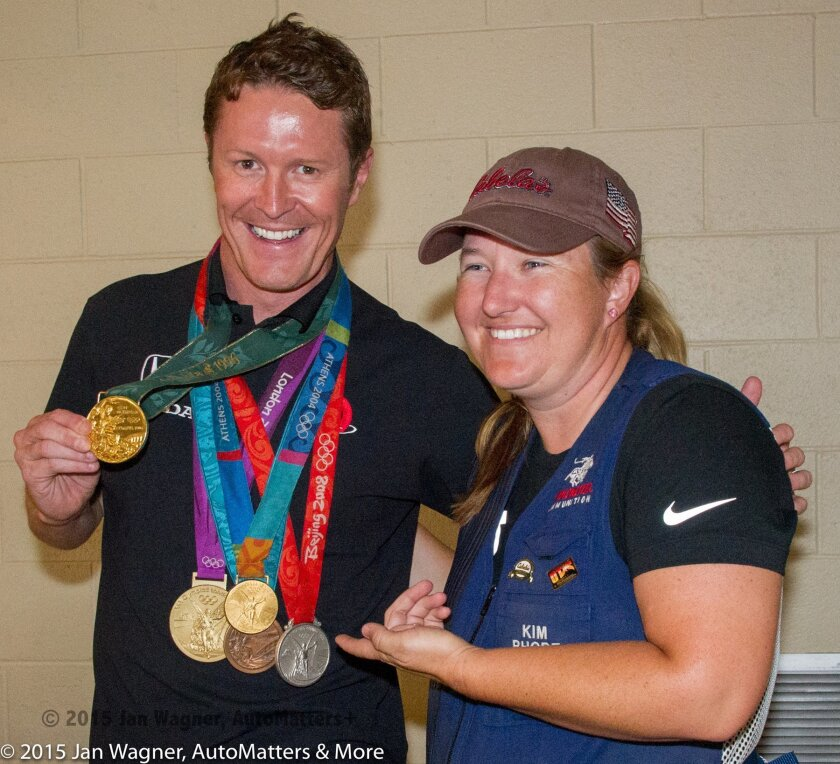 Scott Dixon in 2013 with Kim Rhode, multi-Olympic medalist for skeet shooting