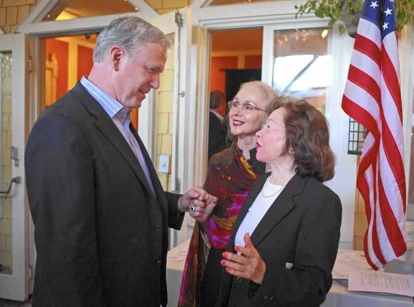 John Dennis, left, during his 2010 campaign against Rep. Nancy Pelosi, speaks with Nob Hill Republican Women's Club President Joan Leone, center, and Vice President Barbara Kerwick.