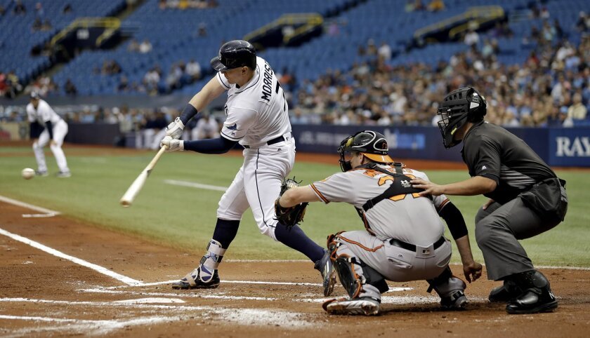Tampa Bay Rays' Logan Morrison prepares to hit a three-run home run off Baltimore Orioles starting pitcher Ubaldo Jimenez during the first inning of a baseball game Monday, Sept. 5, 2016, in St. Petersburg, Fla. Looking on is Orioles catcher Matt Wieters and home plate umpire Manny Gonzalez. (AP Ph