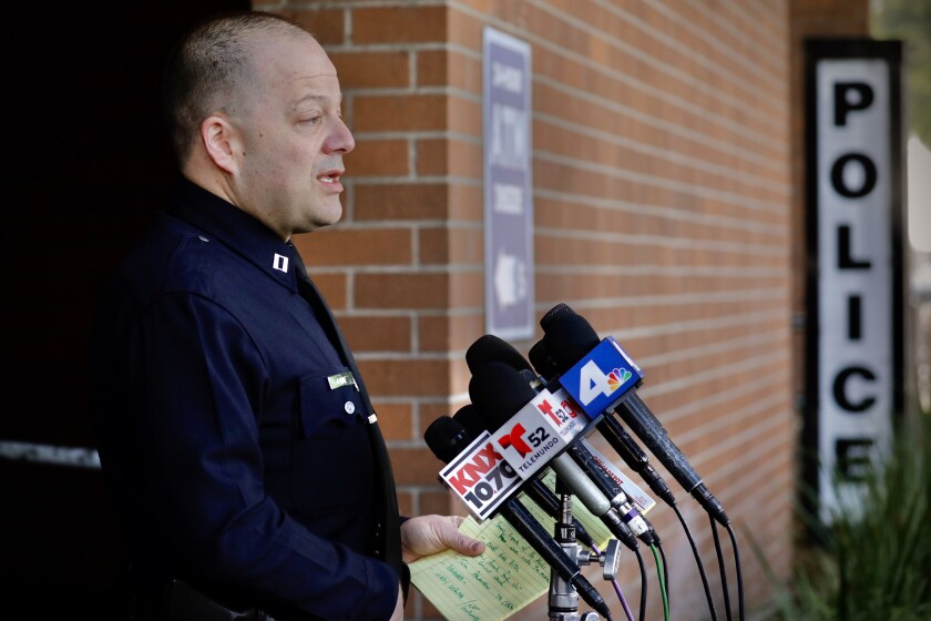 LAPD Capt. Steve Lurie addresses a press conference on the fatal shooting of rapper Pop Smoke