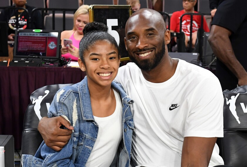 Gianna and Kobe Bryant at the 2019 WNBA All-Star Game in Las Vegas.