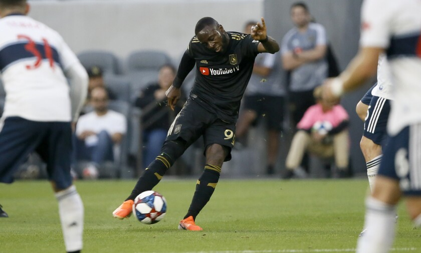LAFC forward Adama Diomande takes a shot against the Vancouver Whitecaps during the first half on July 6.