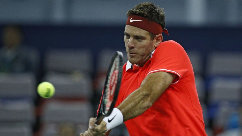 Juan Martin Del Potro of Argentina hits a return during his match against Borna Coric at the Shanghai Masters tournament in October.