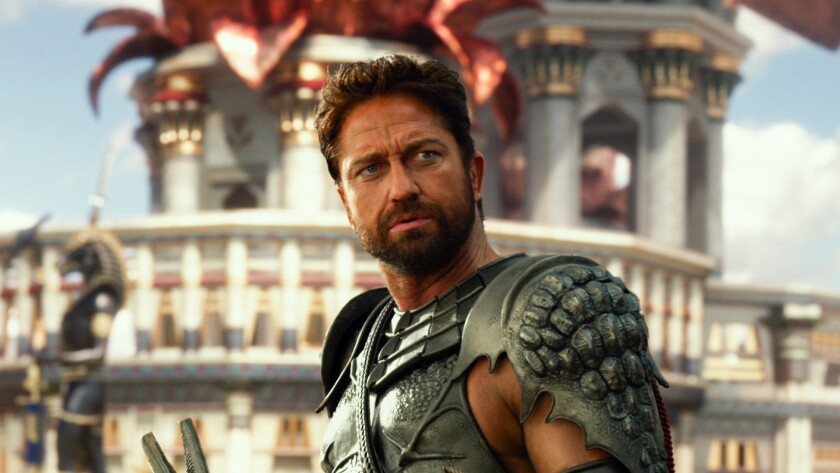 """Gerard Butler stars as Set in """"Gods of Egypt."""" The $140-million-budgeted Lionsgate action film took in $14 million in its opening weekend, but that was good enough for second place."""