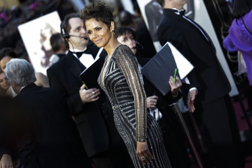 Halle Berry, arrives at the 85th Annual Academy Awards on Sunday, February 24, 2013.