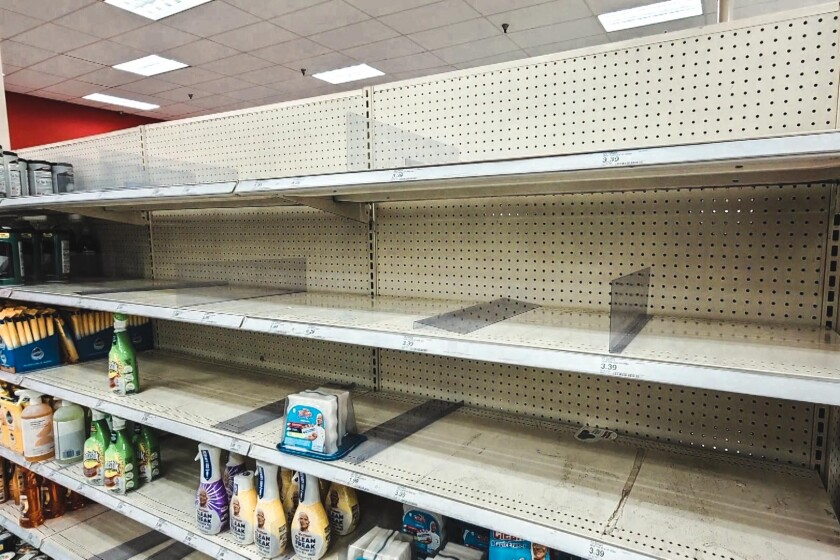 Store shelves emptied by coronavirus panic shoppers