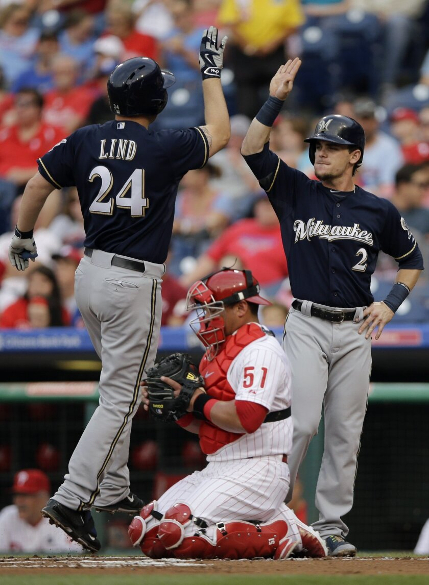 Milwaukee Brewers' Adam Lind (24) and Scooter Gennett (2) celebrate next to Philadelphia Phillies catcher Carlos Ruiz (51) after Lind's two-run home run off starting pitcher Aaron Harang during the first inning of a baseball game, Wednesday, July 1, 2015, in Philadelphia. (AP Photo/Matt Slocum)
