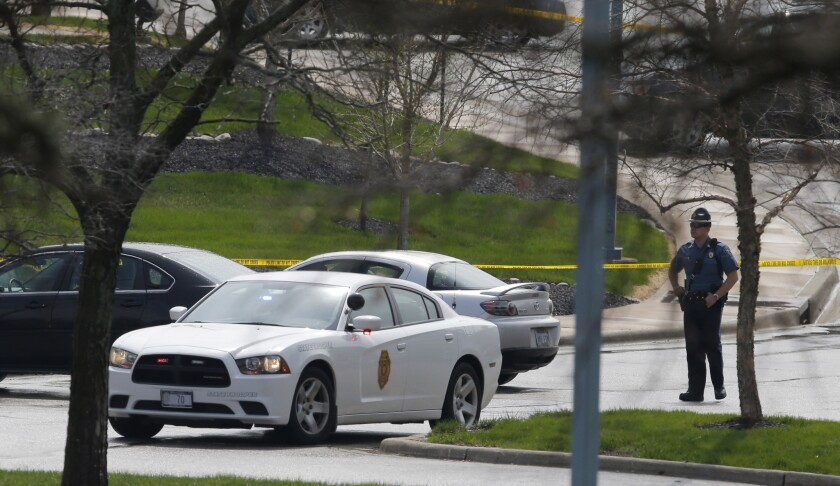 A Kansas state trooper at the Jewish Community Center of Greater Kansas City in Overland Park.