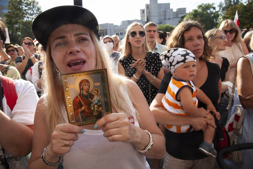 Belarusian opposition supporters gather for a protest rally in Minsk on Aug. 17, 2020.