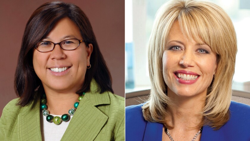 Betty Yee, left, a Bay Area Democrat, will face Ashley Swearengin, the Republican mayor of Fresno, in the race for California controller in November.