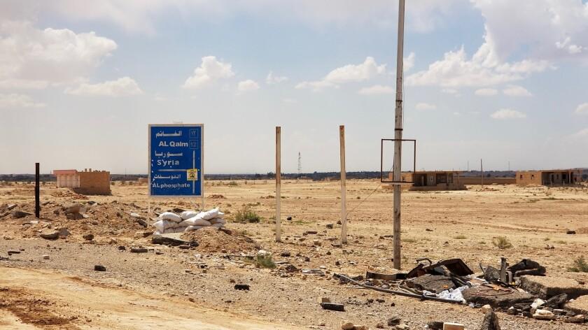 QAIM, IRAQ MAY 16, 2018 -- The entrance to Qaim, Iraq's gateway to Syria. (Nabih Bulos / Los Angele