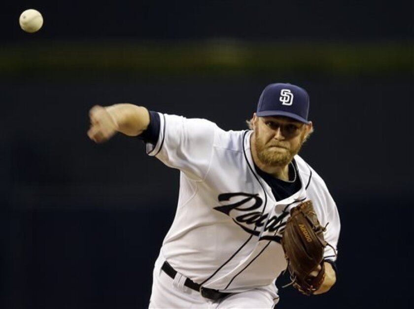 San Diego Padres starting pitcher Andrew Cashner works the first inning against the San Francisco Giants in a baseball game in San Diego, Friday, April 26, 2013. (AP photo/Lenny Ignelzi)