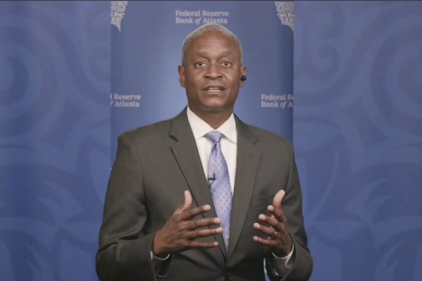 In this still image from video, Atlanta Federal Reserve Bank President Raphael Bostic speaks from Atlanta during a webinar sponsored by the 12 regional Fed banks to address the lack of racial disparity in the field of economics on Tuesday, April 13, 2021. (AP Photo)