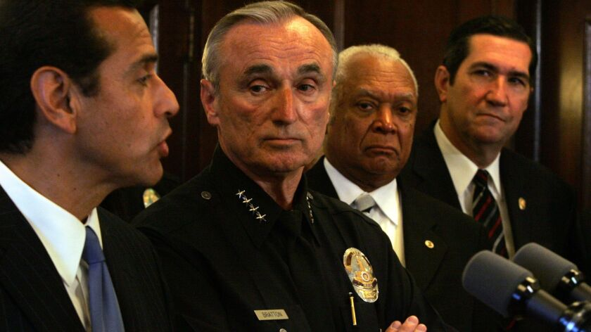 Then-Los Angeles Mayor Antonio Villaraigosa, left, at a news conference with then-Police Chief William J. Bratton.
