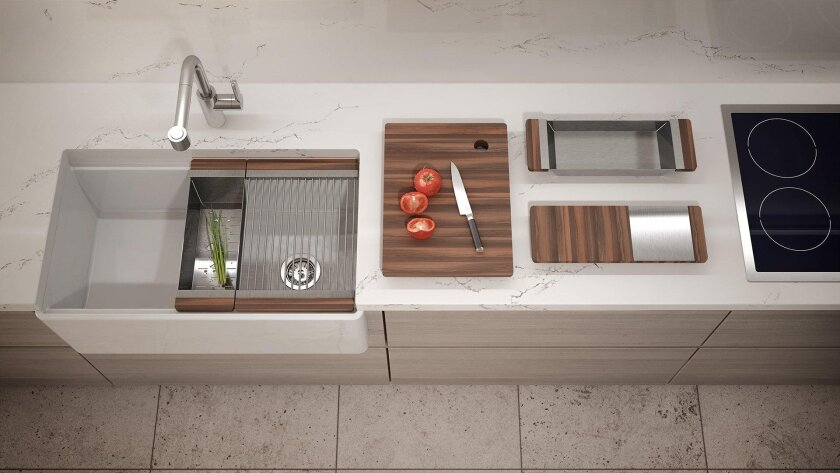 More than a sink, this is a high style kitchen work station.