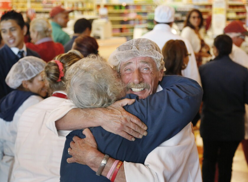 Market Basket employees celebrate in Chelsea, Mass.