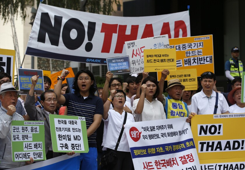 South Koreans near the U.S. Embassy in Seoul rally against the deployment of the Terminal High-Altitude Area Defense, or THAAD, on July 11, 2016.