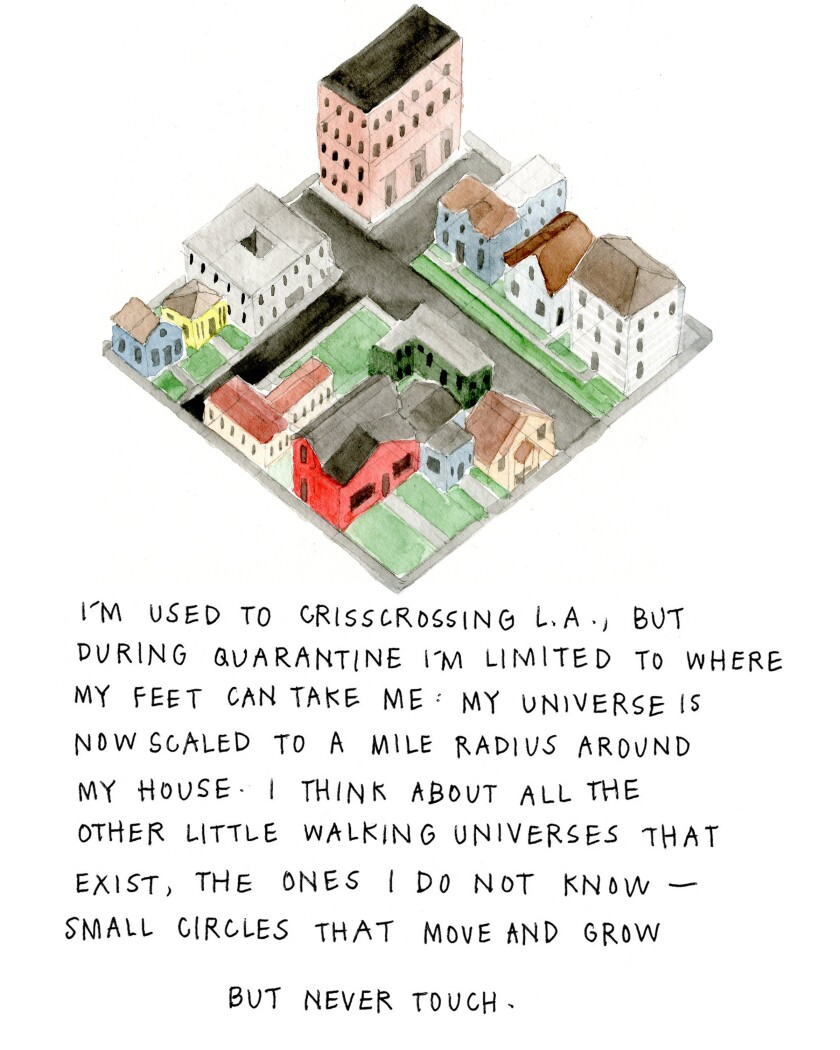 I'm used to crisscrossing L.A., but during quarantine I'm limited to where my feet can take me: My universe is now scaled to a mile radius around my house. I think about all other little walking universes that exist, the ones I do not know — small circles that move and grow but never touch.