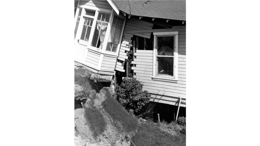 An Anchorage home torn apart by the Alaska earthquake, March 27, 1964.