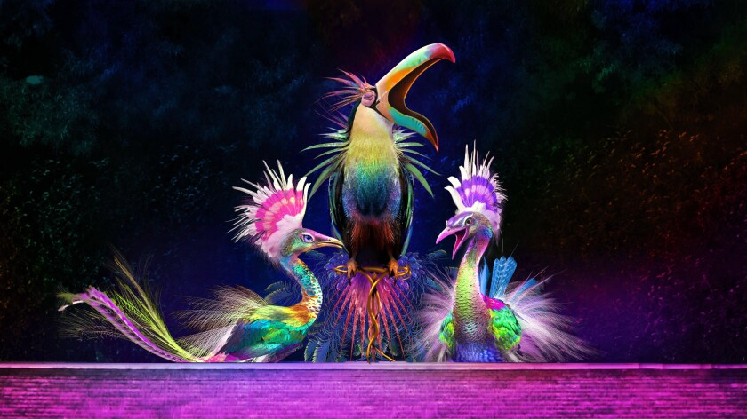 Three animatronic birds that are part of a free show at Wynn's Lake of Dreams, which has been postponed.