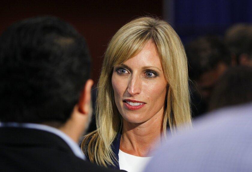Kristin Gaspar, running for District 3 County Supervisor appears at Golden Hall.