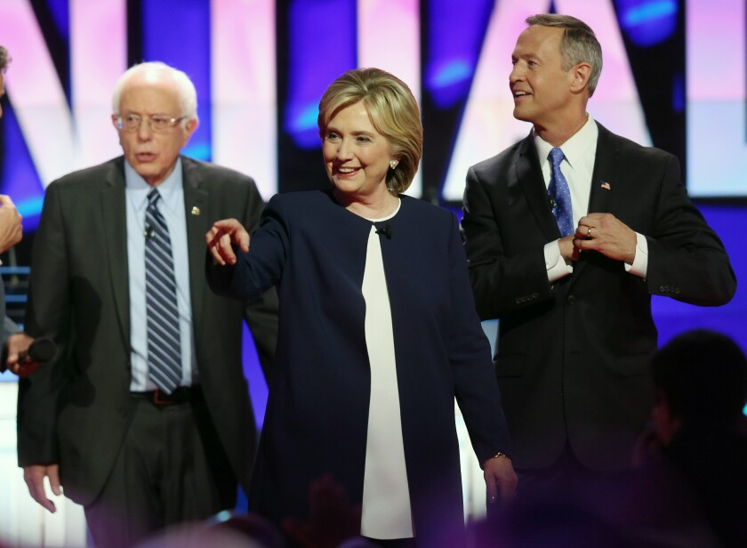 Democratic presidential candidates include Sen. Bernie Sanders of Vermont, left, Hillary Rodham Clinton and Martin O'Malley.
