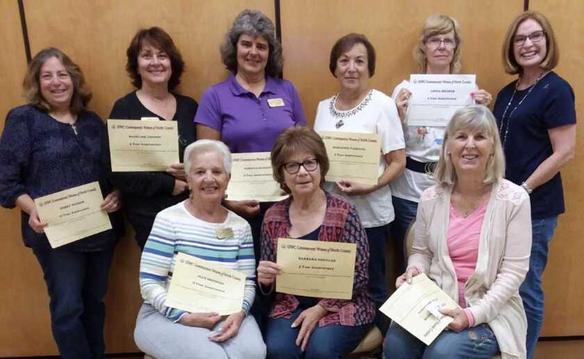 GFWC Contemporary Women of North County, a local women's volunteer organization and social club, recently honored members for active participation in the club. Seated left to right: Jean Smithers (5 years), Barbara Douglas (5 years), Kathy Shattuck (5 years). Standing left to right : Debby Weiner (10 years), Madeline Condon (5 years), Rebecca Buchen (5 years), Marianne Valencia (5 years), Linda Broder (5 years) and membership chairman Kathleen King. The club is part of the General Federation of Women's Clubs. Members are help strenghten their communities through volunteer service. Visit cwonc.org.