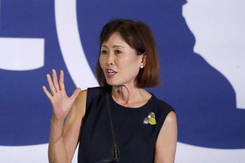 Michelle Steel speaks during the 2019 California GOP fall convention