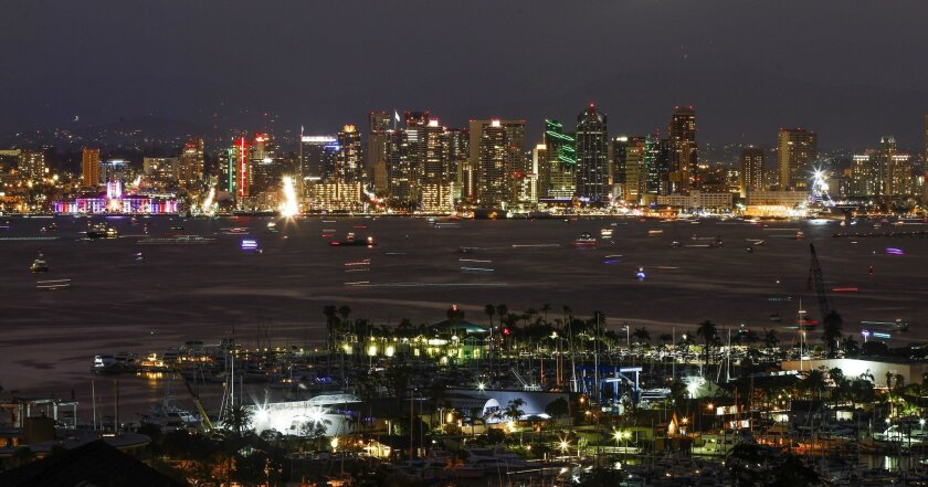 The downtown San Diego skyline and San Diego Bay before the Port of San Diego 2016 Big Bay Boom fireworks show on Monday.