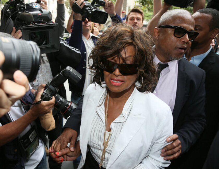 Rebbie Jackson, left, and Randy Jackson attend the first day of the family's suit against AEG.