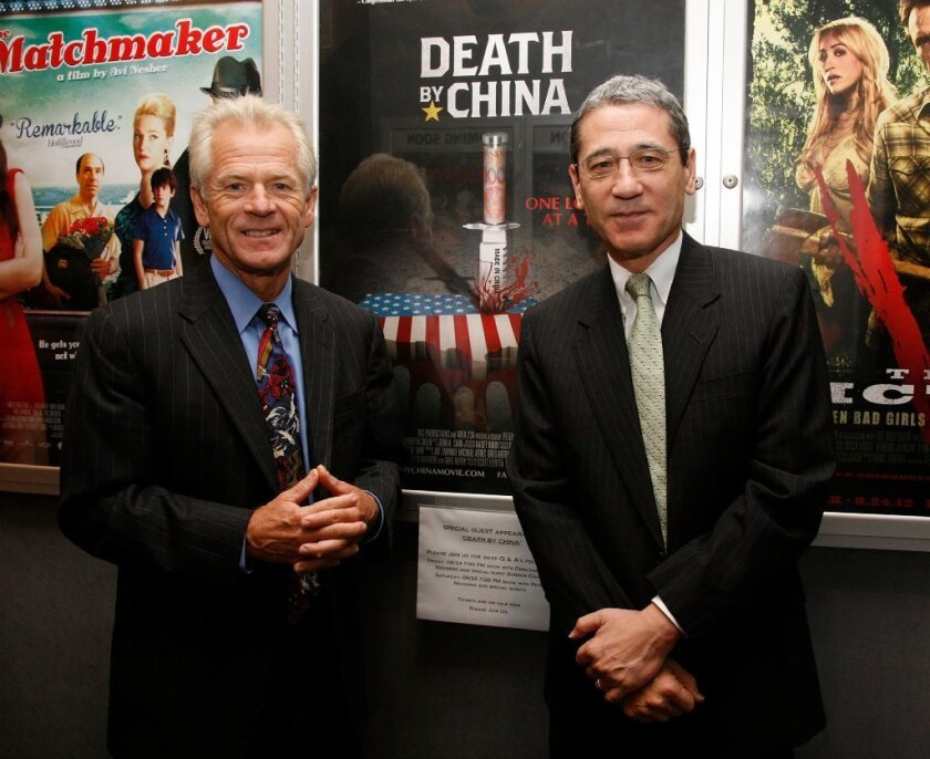 """Peter Navarro and Gordon Chang attend the screening of """"Death By China"""" documentary in New York City in 2012."""