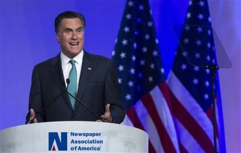 Republican presidential candidate, former Massachusetts Gov. Mitt Romney speaks at the Newspapers Association of America/ American Society of News Editors luncheon gathering in Washington, Wednesday, April 4, 2012. (AP Photo/Manuel Balce Ceneta)